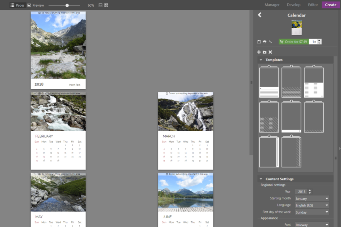 To replace a calendar's photos, just drag different photos up from the Filmstrip into a calendar page.