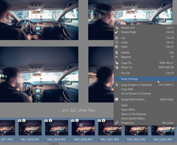How to Create a Timelapse Video: Paste Settings.