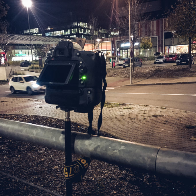How to Create a Timelapse Video: Camera Setup by a Railing.