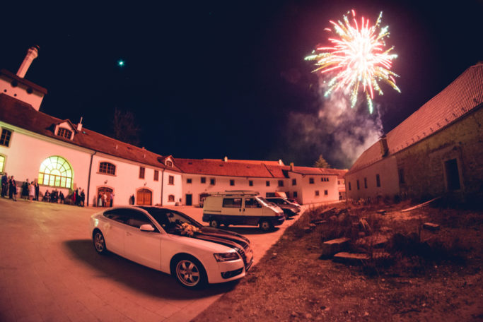 Learn the Right Way to Photograph Fireworks: A courtyard and fireworks-watchers.
