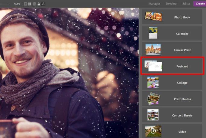 Prepare your own christmas postcard: create module.