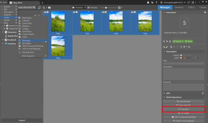 How to create a panorama: Now click on Menu > Create > Panorama or use the Panorama button in the side panel on the right.