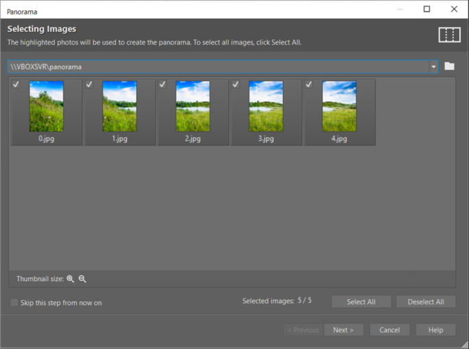 How to create a panorama: the Panorama window.