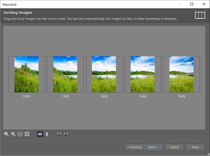 How to create a panorama: If your pictures are not already in the right order, fix their order here.