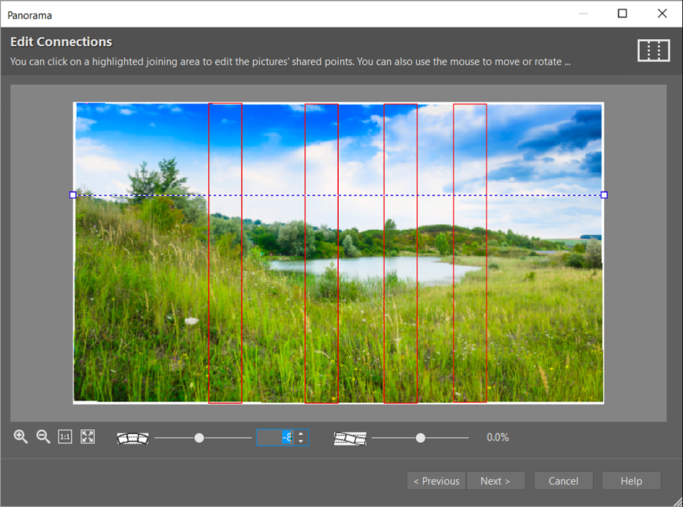 How to create a panorama: djust the connections between the individual photos