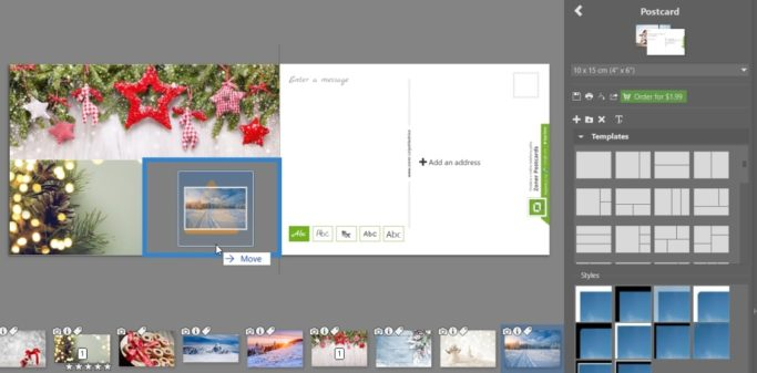 Create your own christmas postcard: arranging the photos.
