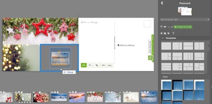 Create your own christmas postcard: arranging the photos.