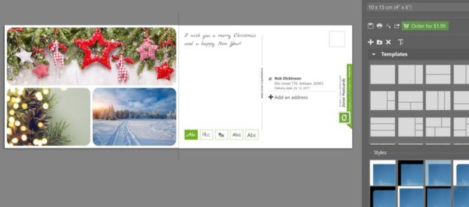 Create your own christmas postcard: adding text to a postcard.