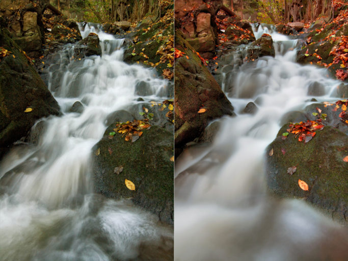 How to photograph motion: Differing exposure times for flowing water.
