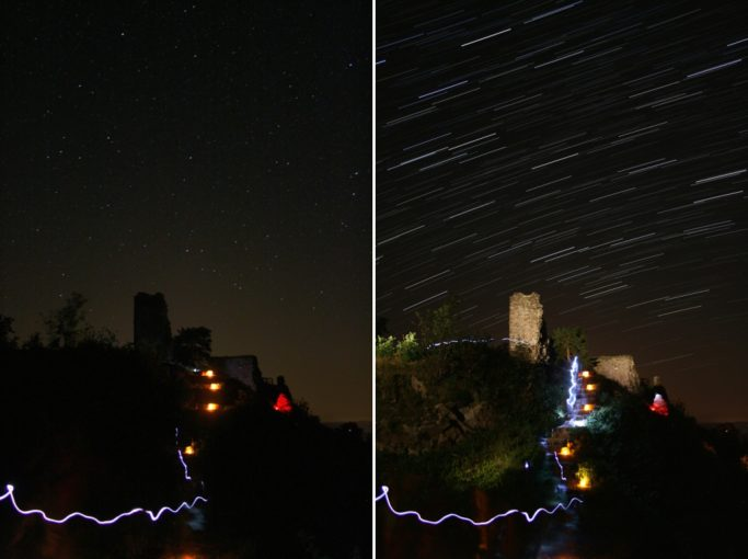 How to photograph star trails: stars and lights at the Zubštejn ruins.