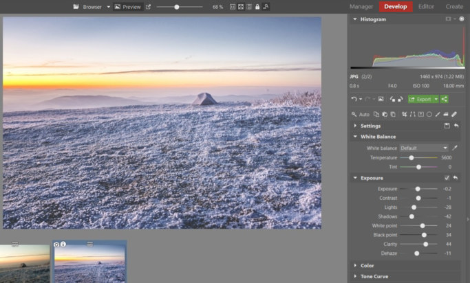 White Balance, Vignetting, and Other Common Edits of Winter Landscapes: winter landscape with an instagram look.