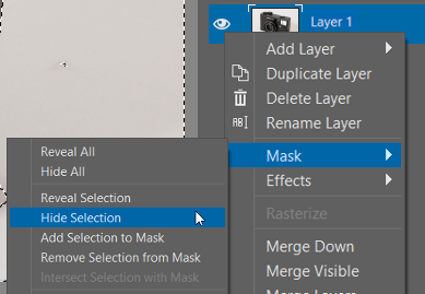 How to Crop Product Photos: Hide Selection in the Mask submenu.