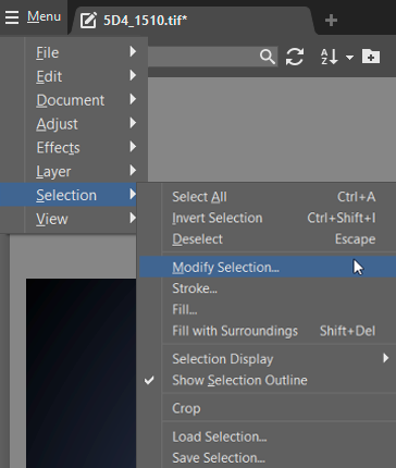 How to Crop Product Photos: Modify Selection in the main menu.