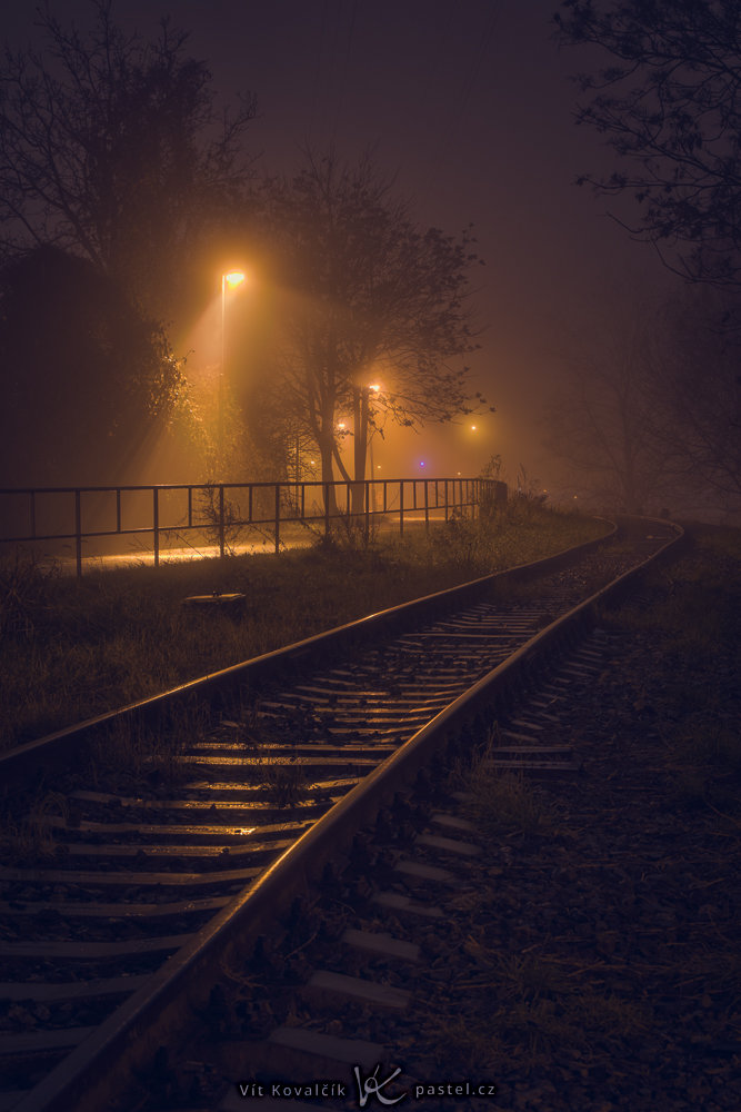 How to Photograph Fog: deserted tracks in a fog.