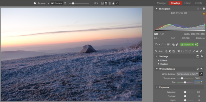 White Balance, Vignetting, and Other Common Edits of Winter Landscapes: white balance.