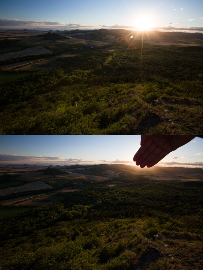 How to Photograph with the Sun in the Frame: covering the sun with hand.