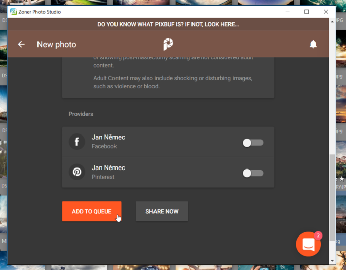 How to Share Photos on Facebook: sharing over Pixbuf.