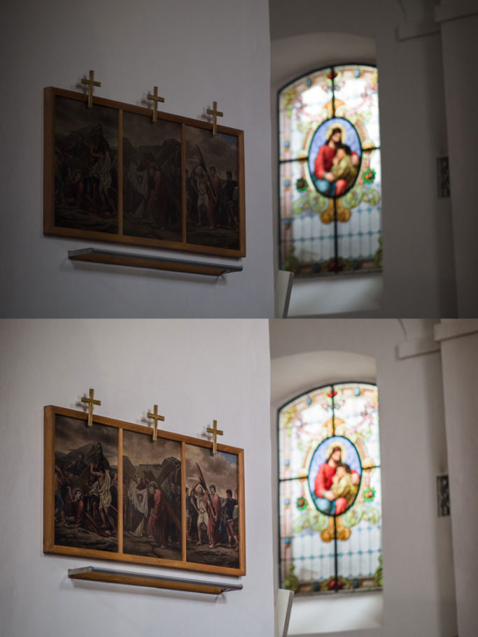 How to Photograph in Churches: original and brightened picture.