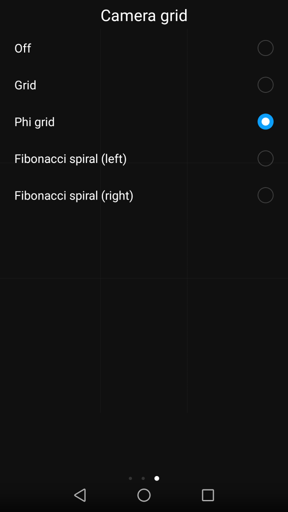 Taking Pictures With Your Phone: grid options.