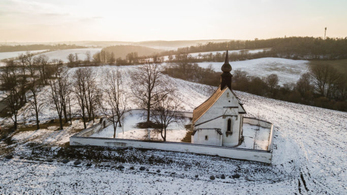 Drone Photography: a church photographed form a drone.