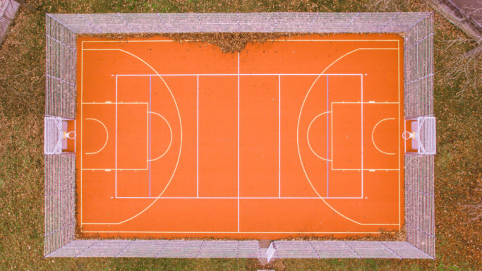 Drone Photography: a tennis court photographed by a drone.