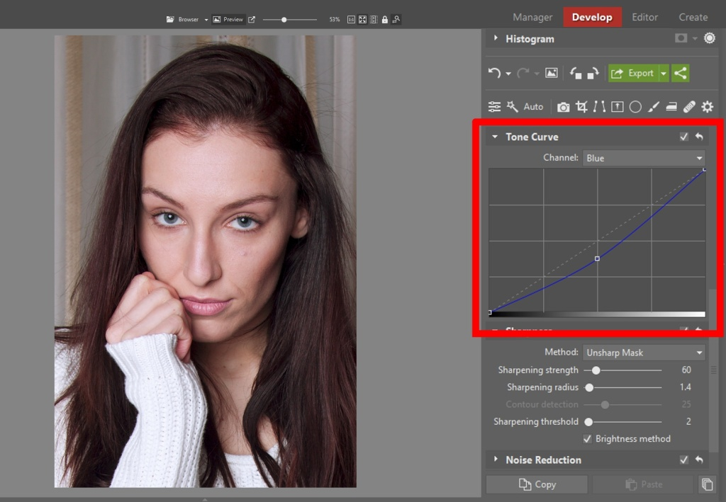Learn to Edit Portraits and Discover the 5 Most Common Portrait Photo Problems- blue curve