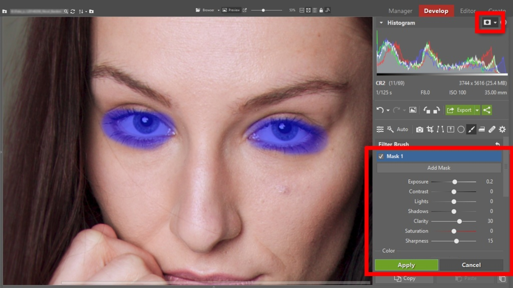 Learn to Edit Portraits and Discover the 5 Most Common Portrait Photo Problems- brush filter
