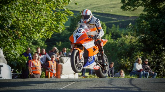 How to Photograh Motorcycle Races: The jump over the Ballaugh Bridge.