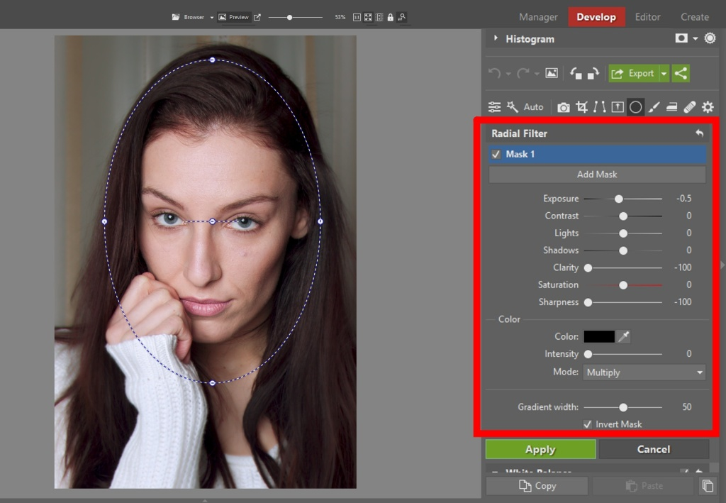 Learn to Edit Portraits and Discover the 5 Most Common Portrait Photo Problems- radial filter