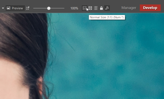 How to sharpen your photos: zooming a photo to 100% size.