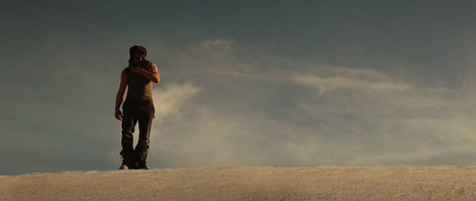 the horizon and the main character on rule-of-thirds lines - Iron Man.