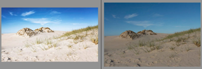 3 most common mistakes in landscape photography: a RAW photo before and after editing.