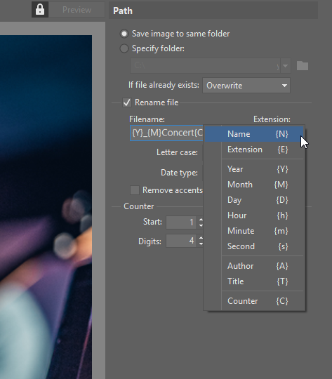 Batch renaming photos: format of a new name.