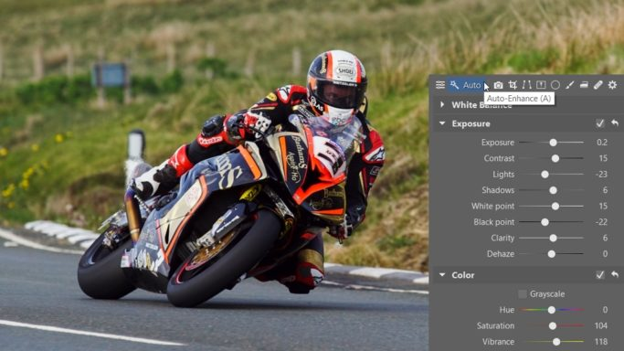 How to edit motorcycle racing photos: Auto-enhancement.
