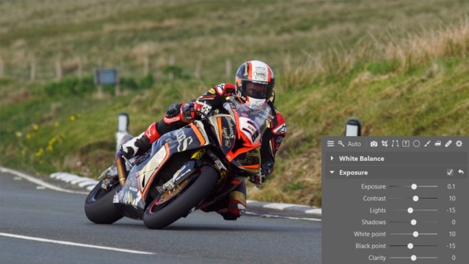 How to edit motorcycle racing photos: An example of exposure editing.