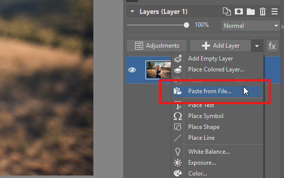 How to place one photo inside another: pasting a picture from file.