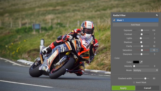 How to edit motorcycle racing photos: using of the Radial Filter.