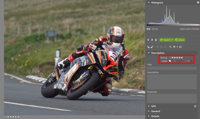 How to edit motorcycle racing photos: rating.