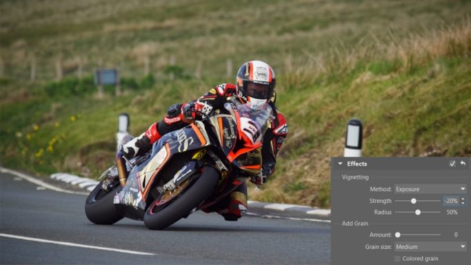 How to edit motorcycle racing photos: adding vignetting.