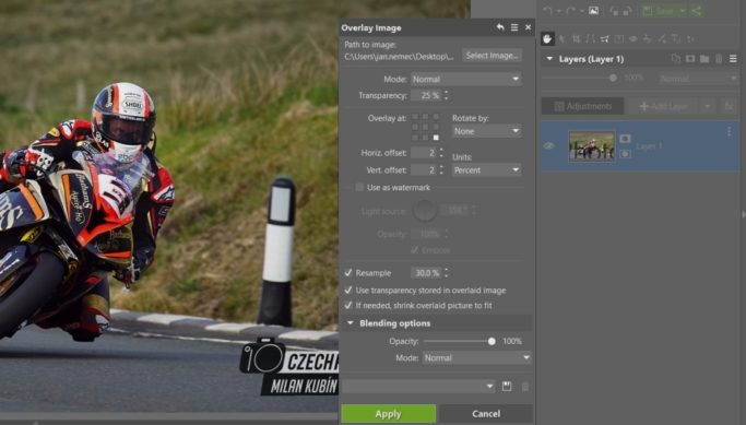 How to edit motorcycle racing photos: adding a watermark.