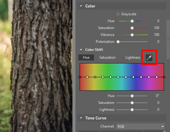 Change a Photo's Colors: choosing a color using the eyedropper.