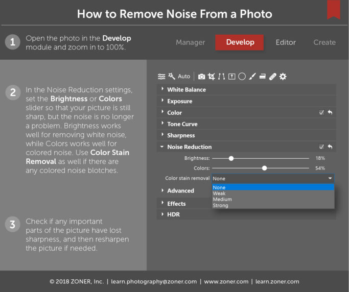 infographic - how to remove noise from photos