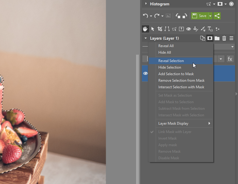 How to Create a Transparent Background - reveal selection