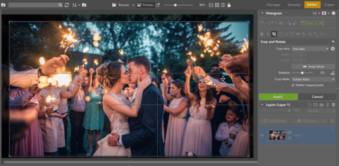Photo cropping: Crop and Rotate tool in the Editor module in Zoner Photo Studio X.