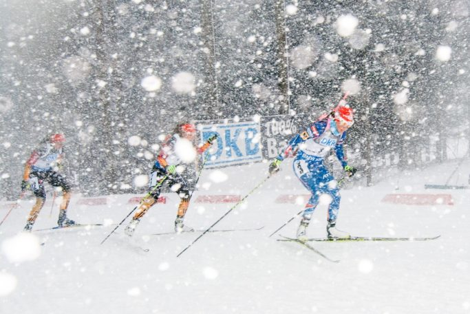 winter sports photography biathlon blizzard