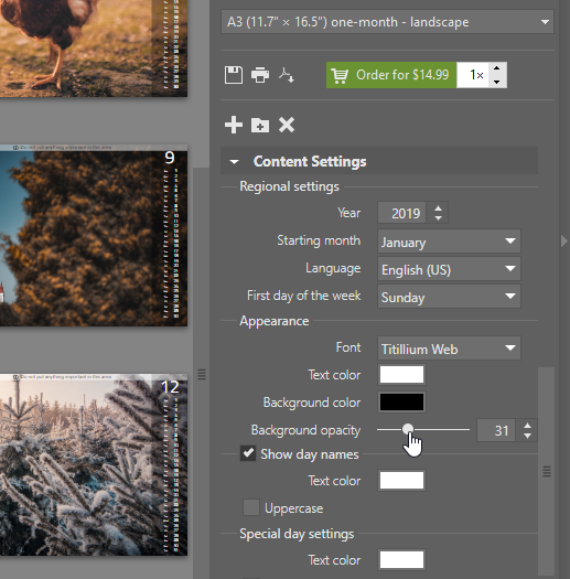 Create your own photo calendar: calendar's settings.