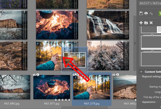 Create your own photo calendar: adding photos.