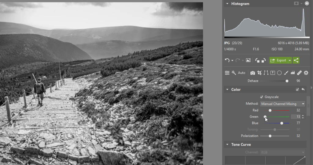 Black and White Landscapes: Check - manual channel mixing