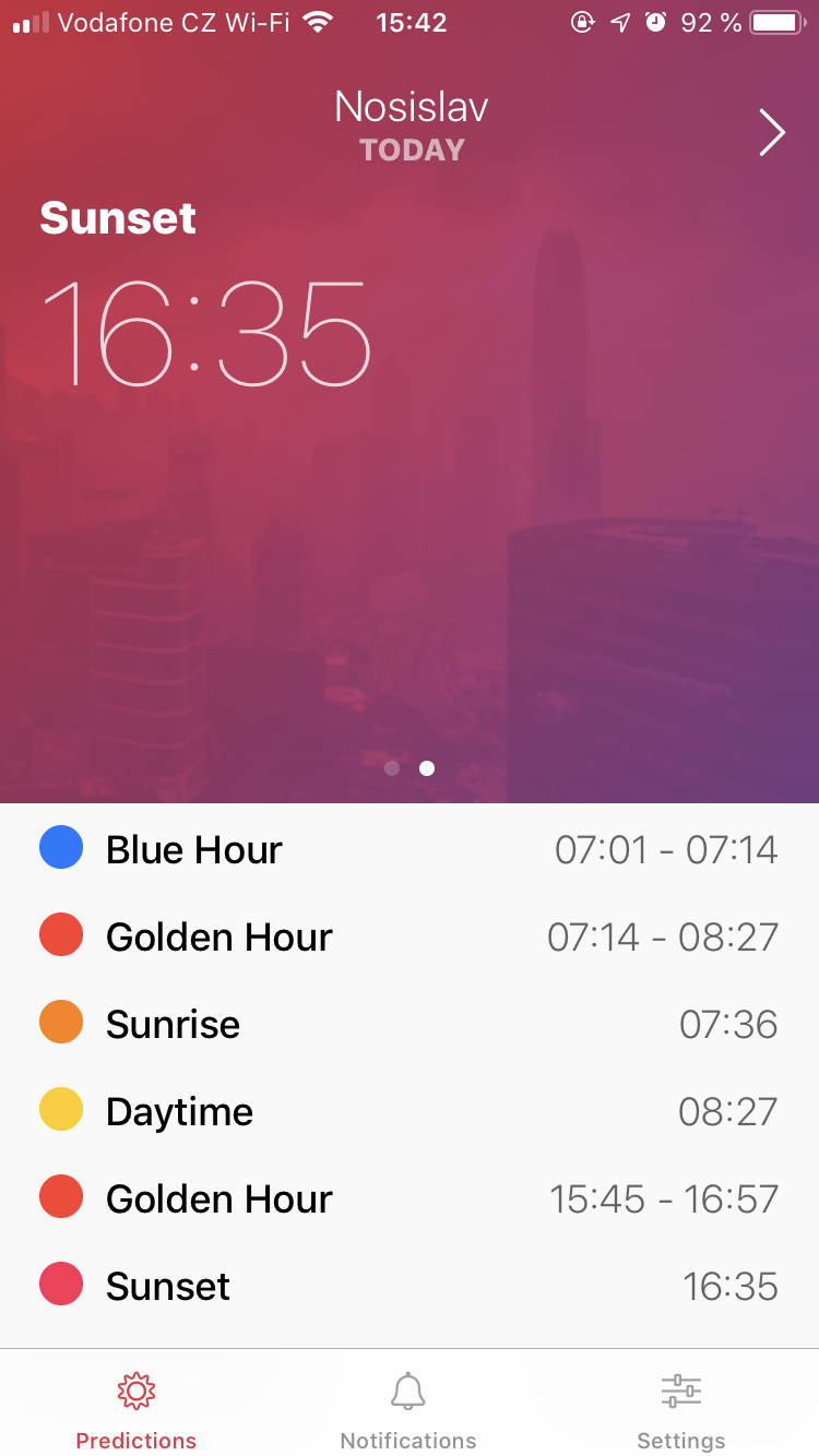 Alpenglow app: it's really practical to be able to check your phone to see when the sun will set
