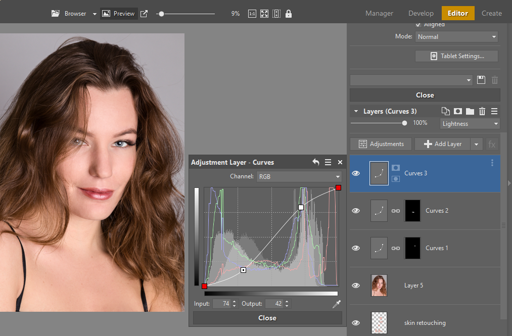 Learn to Retouch Portraits - editor contrast